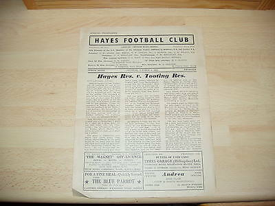 Hayes Res v Tooting & Mitcham Res Athenian Lge 1953/4