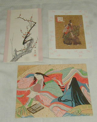 3 Vintage Japanese Art Greeting Cards, Beautiful Images, Nice Quality, Amp