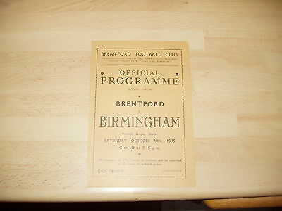 Brentford v Birmingham Football Lge South 1945/6