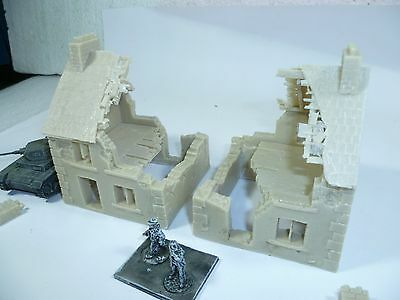 2 x Unpainted resin ruin buildings for 15mm wargames, 1/100th scale RB154