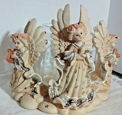 Three Angels Candle or Candy Glass Bowl