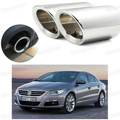 Car Exhaust Muffler Tip Tail Pipe Trim Silver for Volkswagen CC 2009-2016 #2030
