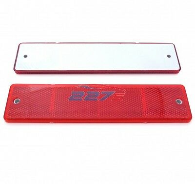 2x Red Large Rectangular Reflectors, Screw Mounts, 173mm x 40mm, Trailer, gates