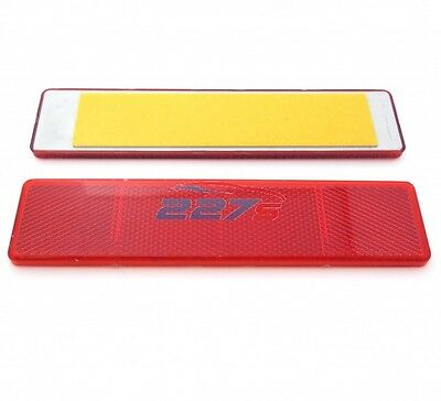 2x Red Large Rectangular Reflectors, Self-Adhesive, 173mm x 40mm, Trailer, gates