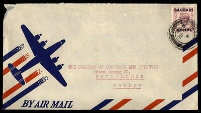 Bahrain To Gothenberg Sweden 1942 Single Franked Airmail Cover