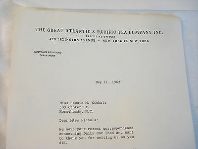 Vintage 1962 Letters A&P GREAT ATLANTIC & PACIFIC TEA CO Ear Stones in Cat Food