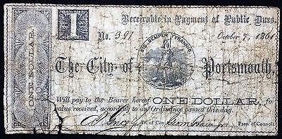 October 7, 1861 City Of Portsmouth $1 One Dollar Note - U.S. Civil War Currency