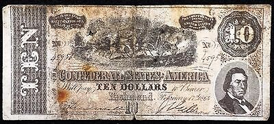1864 Confederate States of America $10 Ten Dollar Reproduction Note