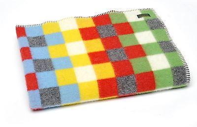 Baby girl/boy Wool Cot Blanket Throw Car Rug Jacquard Bright Check Tweedmill