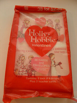 Vintage American Greeting Holly Hobbie Valentine's - 1990 - 38 Cards
