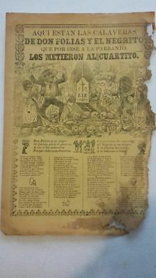 BIG Rare Scarce Mexican engraving by Jose Guadalupe Posada DAY OF THE DEAD