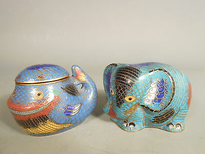 Lot 2 China Chinese Cloisonne Animals Fish & Elephant Figures Box ca. 20th c.
