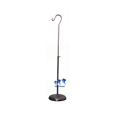 "MS10RS - Mannequin Short Chrome Adjustable Hook Stand w/ 8"" Round Base"