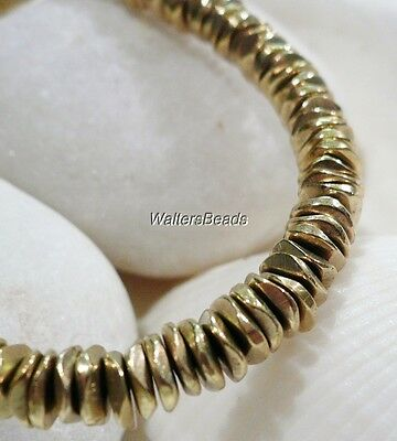 """Brass Heavy Solid Off Round Flat Nugget Spacer Bead Strand Gold Plated 16"""""""
