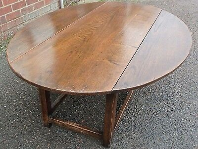Georgian antique style large solid oak drop leaf oval coffee occasional table