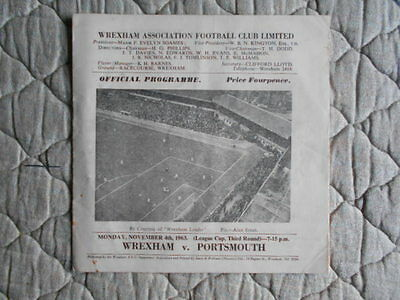 Wrexham V Portsmouth League Cup 3Rd Round Match Programme 1963