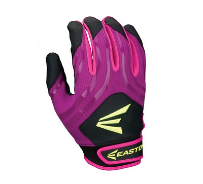 Easton HF3 Hyperskin Fastpitch Women's Batting Gloves NEW Black/Purple/Pink