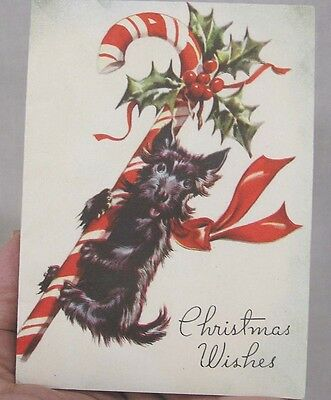 Vintage Christmas Card Scottie Dog w Huge Candy Cane 1940s