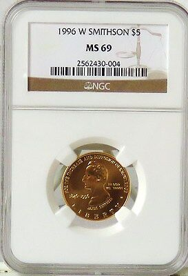 1996 W $5 Gold SMITHSONIAN Commemorative NGC MS69 * KEY DATE *