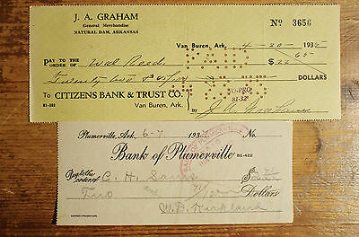 2 different old Arkansas bank checks 1930's nice used