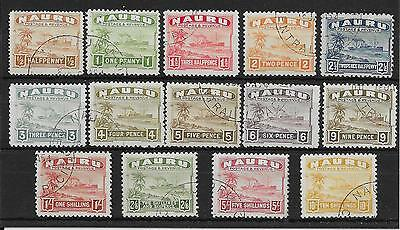 NAURU SG26Bc/39B 1937-48 WHITE PAPER DEFINITIVE SET USED