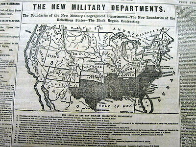 1862 CIVIL WAR display newspaper with LARGE FntPg MAP of the CONFEDERATE STATES