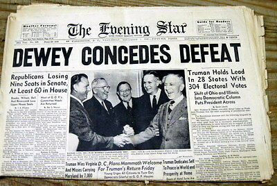 1948 display newspaper HARRY TRUMAN ELECTED US PRESIDENT Truman Defeats Dewey !