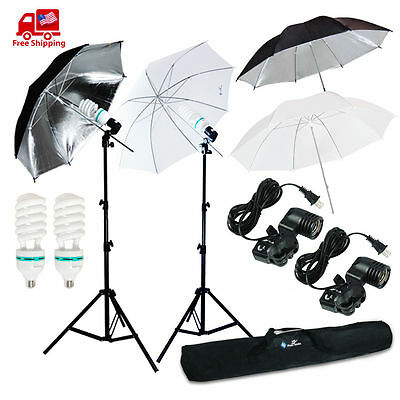 "4 x 33"" Photo Studio Lighting Umbrellas Camera Video Photography Light Lamp Kit"