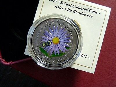 CANADA 2012 25 cent COLOURED ASTER BUMBLE BEE   WITH COA CASE  C1309
