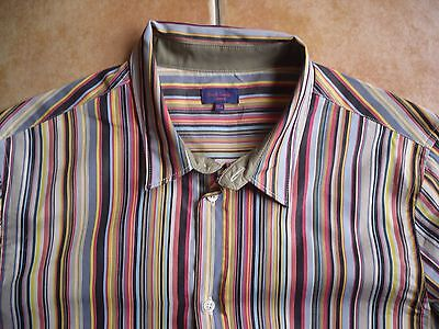 100%auth Mustsee * Paul Smith * Striped Logo Shirt - Age 16Yr
