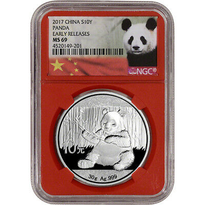 2017 China Silver Panda (30 g) 10 Yuan - NGC MS69 Early Releases Red Core Holder