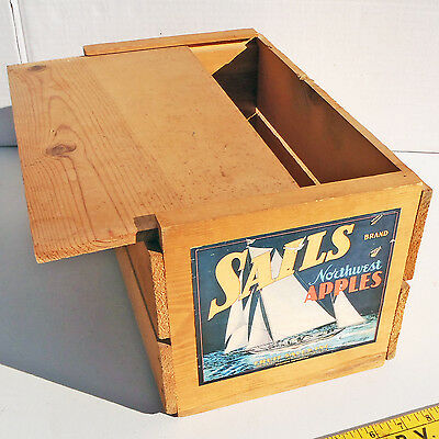 1920s SAILS NORTHWEST APPLES Wood Crate w/ Sliding Panel / Wenatchee Washington