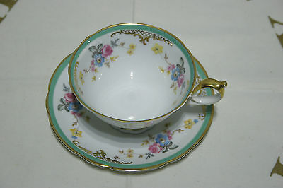 Outstanding Vintage Circa 1940's Royal Bayreuth floral footed cup and saucer set