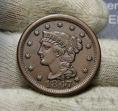 1847 Large Cent, Braided Hair Penny - Nice Coin, Free Shipping (5731)