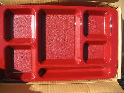 NEW Lot Of 24 CAMBRO CRANBERRY LUNCH TRAYS 6 COMPARTMENTS NIB New in Box