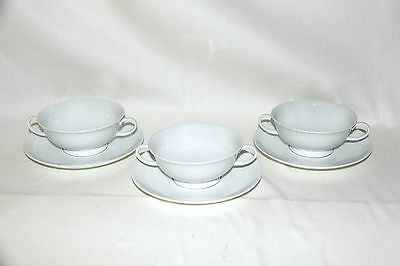 LOT of 3 ROSENTHAL Cream Soup BOWL & UNDERPLATE SETS, White CLASSIC ROSE, MINT!