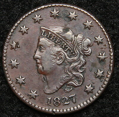 1827 Penny Coronet Large Cent - Nice Coin, Free Shipping  (5376)