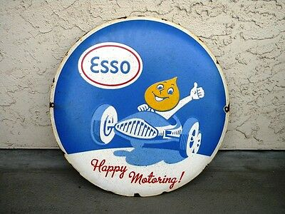 """Big Heavy Esso Porcelain Metal Sign ~16"""" Gas Station Oil Pump Advertising Lube"""