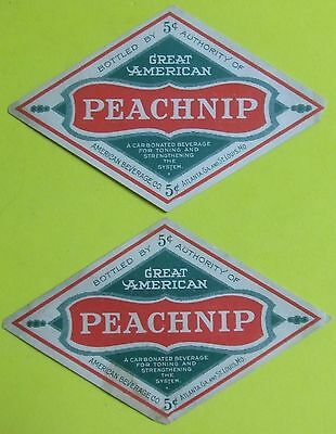 2 unused 1920s/30s  PEACH WHIP bottle labels