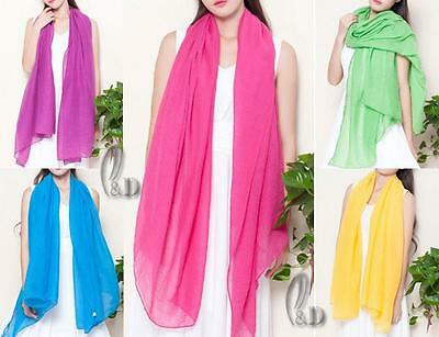 WHOLESALE BULK LOT 20 MIXED COLOUR Cotton Voile SCARF Beach Sarong Cover sc065