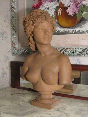 Antique Statue Emile Louis Truffot French Young Moorish Girl Terracotta Signed