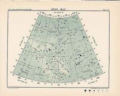 Antique Astronomy STAR MAP Vintage Print Plate 1925 Ball's Guide to the Heavens