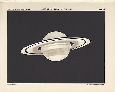 Antique Astronomy SATURN Vintage Print Plate 1925 Ball's Guide to Heavens