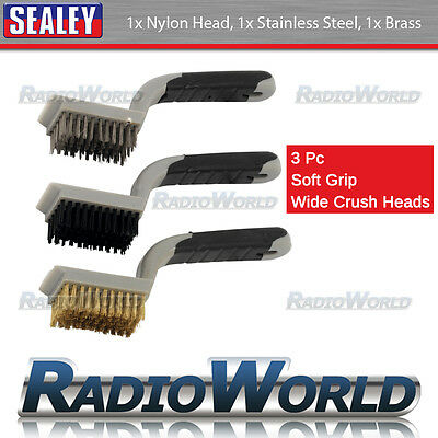 3PC Wide Wire Brush Set for Cleaning House / Car Detailing Soft Grip Steel Nylon