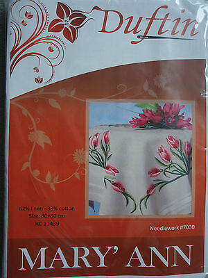 Embroidery Kit - Tablecloth 80 x 80 cm - Tulips