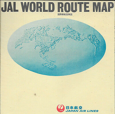 Japan Air Lines JAL WORLD ROUTE MAP - folded Map