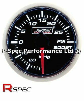 ** NEW MECHANICAL **  Prosport 52mm Smoked Super White Turbo Boost Gauge - PSI