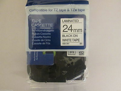 Compatible For Brother P-Touch 24mm x 8m black on white Laminated Tz Label tape