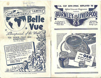 BURNLEY v LIVERPOOL FA CUP SEMI FINAL REPLAY at MANCHESTER CITY 1947