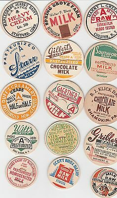 Lot Of 15 Different Milk Bottle Caps. All Named Dairies. #6